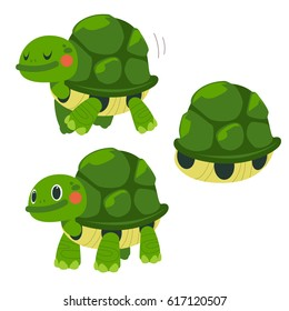 Vector Set of Cute Turtle in Different Actions isolated on White Background.