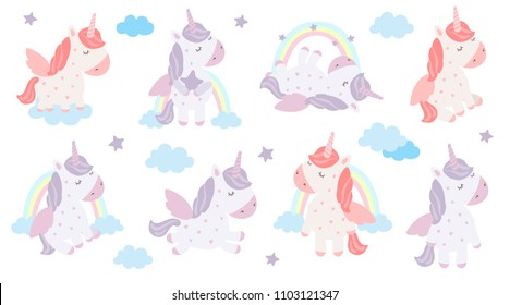 Vector set of cute unicorns. Adorable magic animal on background, pastel colors. Valentine's day, anniversary, save the date, baby shower, bridal, birthday