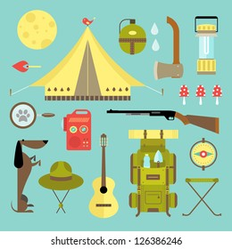 Vector set of cute various camping icons
