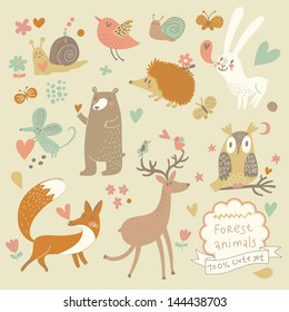 Vector set of cute wild animals in the forest: fox, bear, hedgehog, rabbit, snail, deer, owl, bird, mouse. Vintage set.