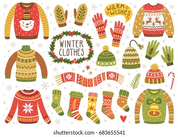Vector set of cute winter clothes: sweaters, socks, hats, mittens, scarf. Collection of ugly sweaters with norwegian ornaments.