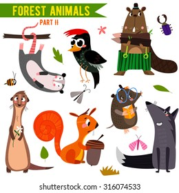 Vector Set of Cute Woodland and Forest Animals. Part II: opossum, beaver, wolf,mole, squirrel, woodpecker,ferret.(All objects are isolated groups so you can move and separate them)