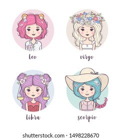 Vector set of cute zodiac girls. Zodiac signs collection: Leo, Virgo, Libra, Scorpio. Horoscope illustration