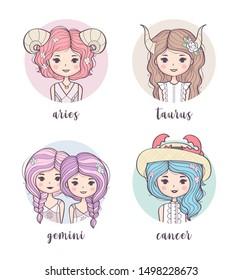 Vector set of cute zodiac girls. Zodiac signs collection: Aries, Taurus, Gemini, Cancer. Horoscope illustration