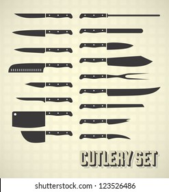 Vector Set: Cutlery Set / Kitchen Knives
