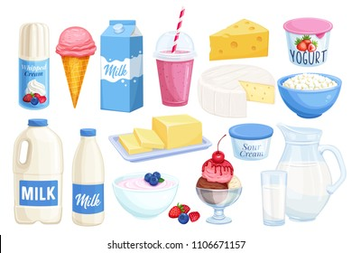 Vector set dairy products. Illustration of cottage cheese, milk, butter, cheese and sour cream. Yogurt, ice cream, smoothies, whipped cream for design market farm product.