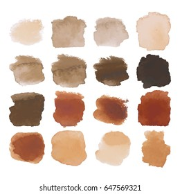 Vector Set of dark brown watercolor blots hand painted texture elements isolated on white. Abstract collection of brush splash, strokes, stains, spots, blots.