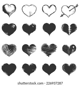 Vector Set of Dark Gray Sketch Hearts