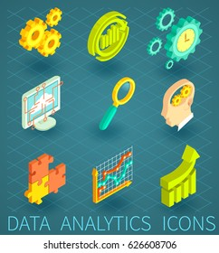 Vector set of Data Analytics icons  in 3D isometric flat style. Colorful analysis symbol for web design