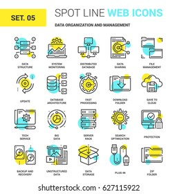 Vector set of data organization and management spot line web icons. Each icon with adjustable strokes neatly designed on pixel perfect 64X64 size grid. Fully editable and easy to use.