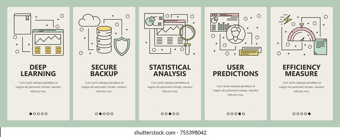 Vector set of data science concept banners. Deep learning, Secure backup, Statistical analysis, User predictions, Efficiency measure web templates. Modern thin line flat symbols, icons for web, print.