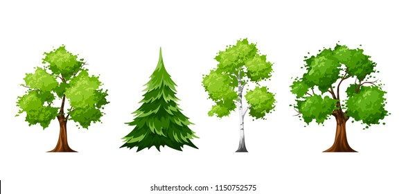 Vector set of deciduous and coniferous trees isolated on a white background.