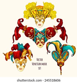 Vector set of decoration masks in venetian style