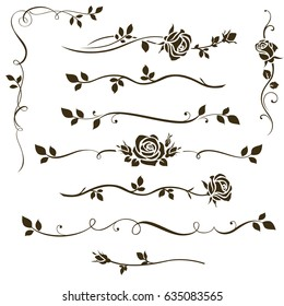 Vector set of decorative calligraphic elements, floral dividers, ornaments with rose silhouettes and leaves for wedding invitation design and page decor.