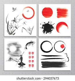 Vector set with decorative design elements, brushes and watercolor backgrounds in sumi-e style.