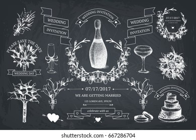 Vector set of decorative design elements for wedding. Vintage wedding collection with frames, borders, icons, banners. Hand drawn illustrations on chalkboard