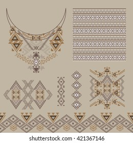 Vector set of decorative elements for design and fashion in ethnic tribal style. Neckline, borders, patterns and seamless texture. Aztec ornaments