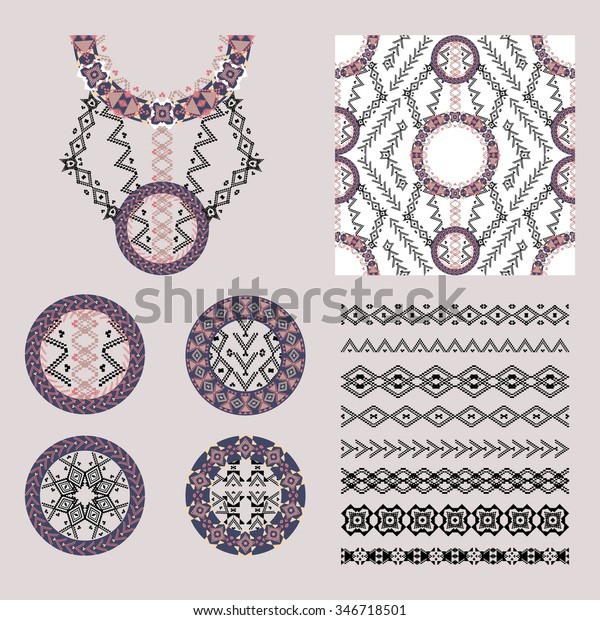 Vector Set Decorative Elements Design Fashion Stock Vector Royalty Free 346718501