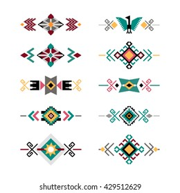 Vector set of decorative ethnic borders with american indian motifs. Boho style. Tribal design elements. flat vector illustration  isolated