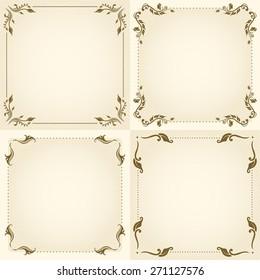 Vector set of decorative floral vintage frame for design.