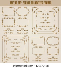 Vector set of decorative hand drawn border, divider, frame with floral elements for design of invitation, greeting, wedding, gift card, certificate, diploma, voucher. Page decoration in vintage style.
