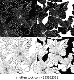 Vector set of decorative hibiscus flowers. Monochrome design for invitation, wedding or greeting cards.