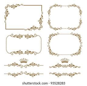 Vector set of decorative horizontal elements, border and frame. Basic elements are grouped.