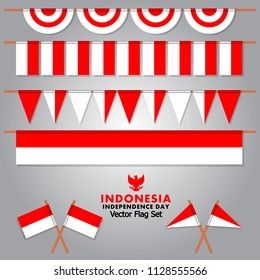 Vector set for decorative Indonesia flag