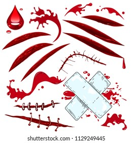 Vector set decorative objects for Halloween. Various cuts, scars, wounds and drops of blood.