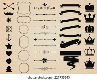 Vector set of Decorative Ornamental Borders and Page Dividers, ornament, frames, ribbons, banners, crowns and objects for vintage and hipster design.