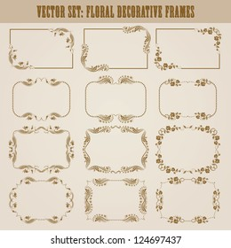 Vector set of decorative ornate border and frame with floral elements for invitations. Page decoration.