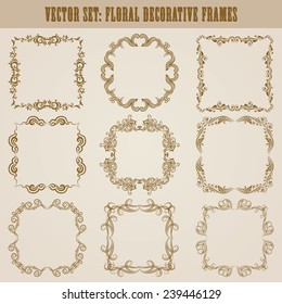 Vector set of decorative ornate border and frame with floral elements for invitations, gift, greeting card. In vintage style. Page decoration