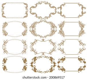 Vector set of decorative ornate frames with floral elements for invitations. Page decoration.