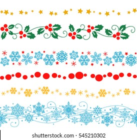vector set of decorative seamless elements and ornaments for new year frame and border decorations