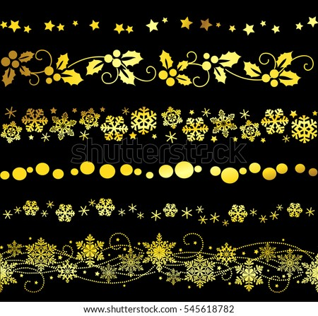vector set of decorative seamless new year ornaments border elements for page decor christmas