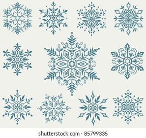 Vector set of decorative snowflakes