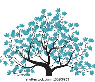vector set - decorative tree and blue leaves