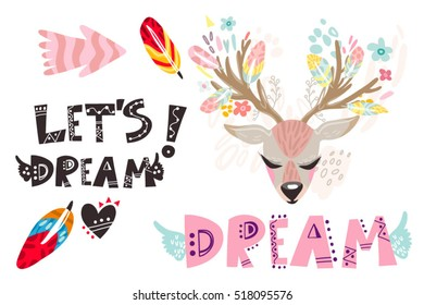 Vector set of deer and hand drawn phrases.