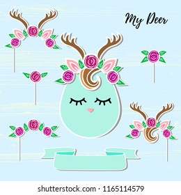 Vector set with Deer, Headband, Antler, flower wreath. Deer symbols as patch, stick cake topper, sticker, drink topper. Props for baby birth, Deer party, birthday, first birthday, baby shower.