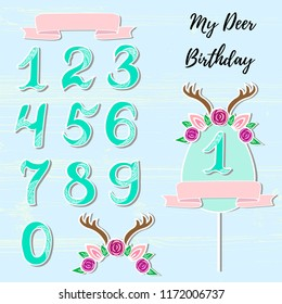 Vector set with Deer headband, numbers, frame. Deer symbols as patch, stick cake topper, sticker, drink topper. Props for baby birth, Deer party, birthday, first birthday, baby shower.