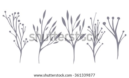Vector Set Delicate Leaves Herbs Your Stock Vector (Royalty Free