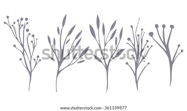 Vector Set Delicate Leaves Herbs Your Stock Vector (Royalty