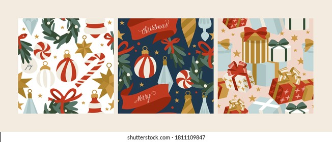 Vector set design for Christmas greetings seamless patterns. Winter holidays design elements