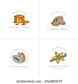 Vector set design colorful templates logo and emblems - syrups and toppings-caramel, almond, cocoa, vanilla. Food icon. Logos in trendy linear style isolated on white background