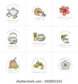 Vector set design colorful templates logo and emblems - organic herbs and teas . Different teas icon. Logos in trendy linear style isolated on white background