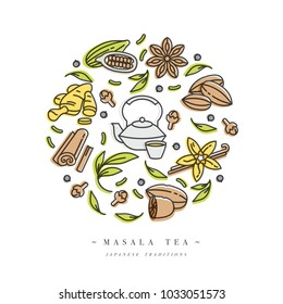 Vector set design colorful templates icon and emblems - organic herbs and different spices. Masala teas icons composition. Symbol in trendy linear style isolated on white background