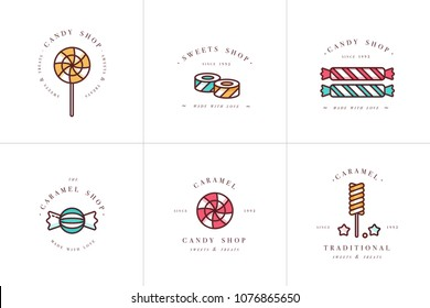 Vector set design colorful templates logo and emblems - lollipops with sprinkles caramel candies. Different sweets icon. Logos in trendy linear style isolated on white background