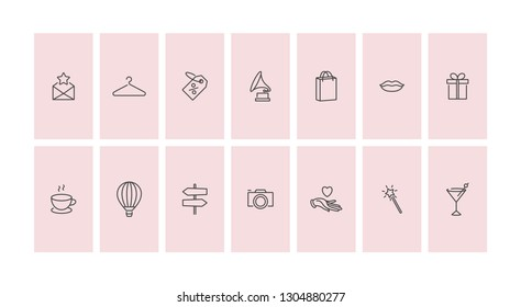 Vector set design colorful templates icons and emblems - social media story highlight. Different blogger icons  in trendy linear style isolated on white background
