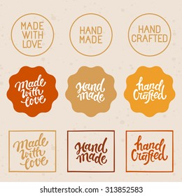 Vector set of design elements and badges - hand-made, hand crafted and made with love - hand lettering and labels