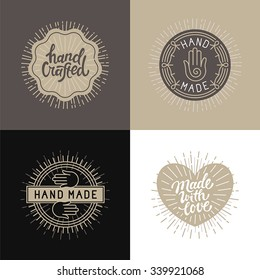 Vector set of design elements, badges and labels in vintage style with hand-lettering - hand made, handcrafted and made with love